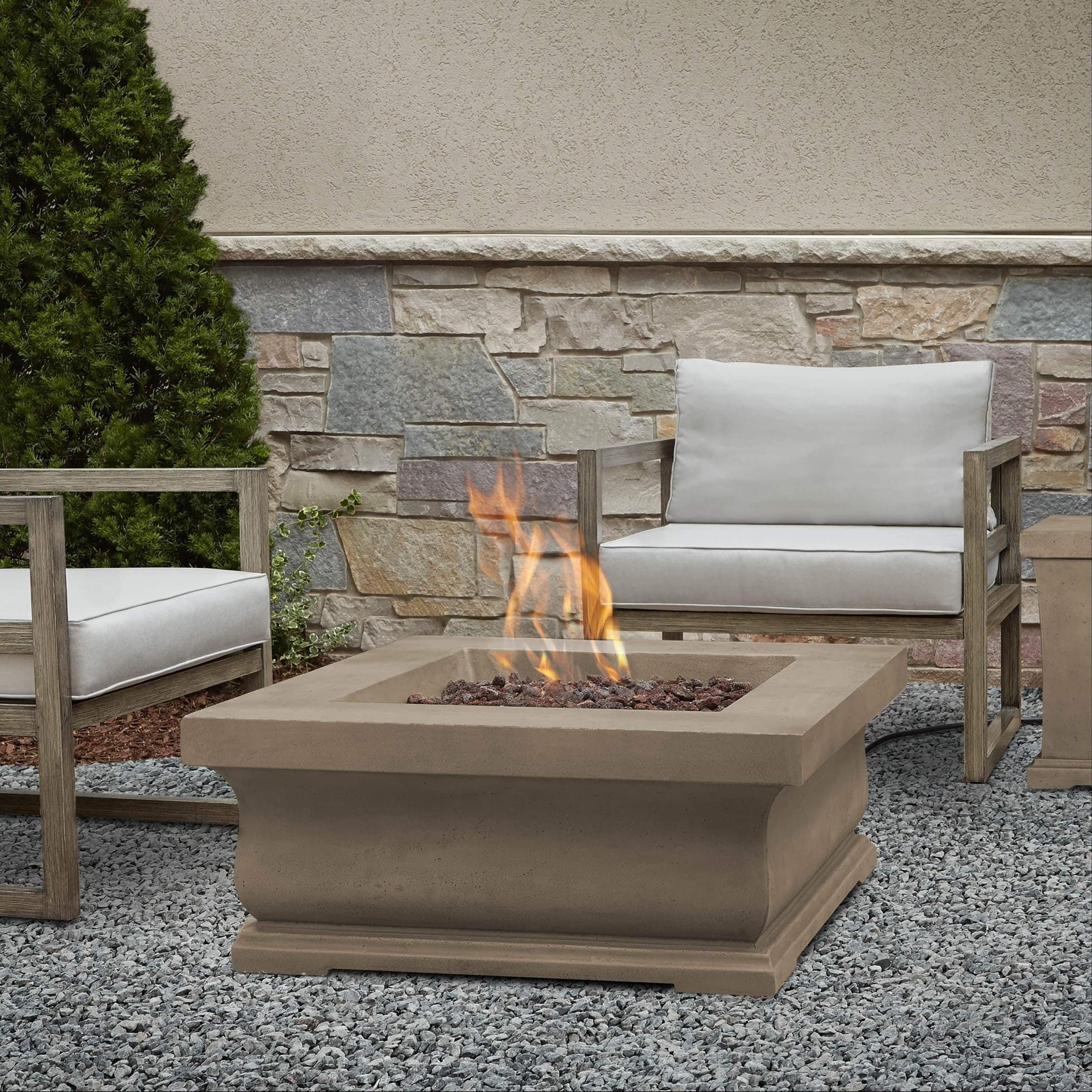 Real Flame Treviso Dove Grey Square Gas Fire Pit (Concrete