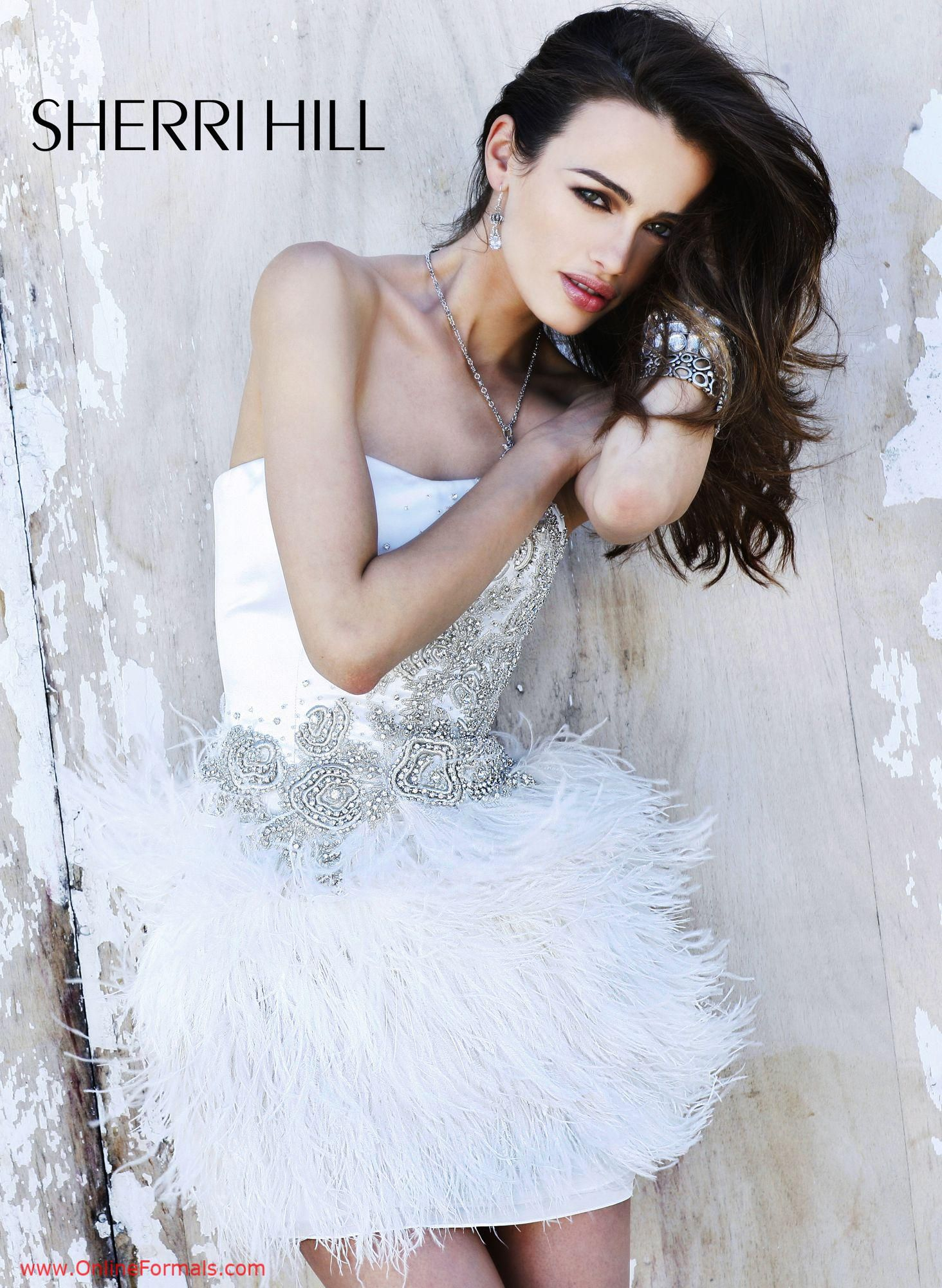Sherri hill feather dress cocktail and homecoming dresses