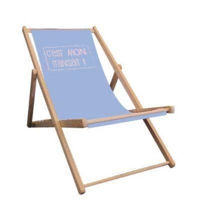 transat en bois chaise longue 3 positions toile amovible transat de plage pantone - Transat En Bois