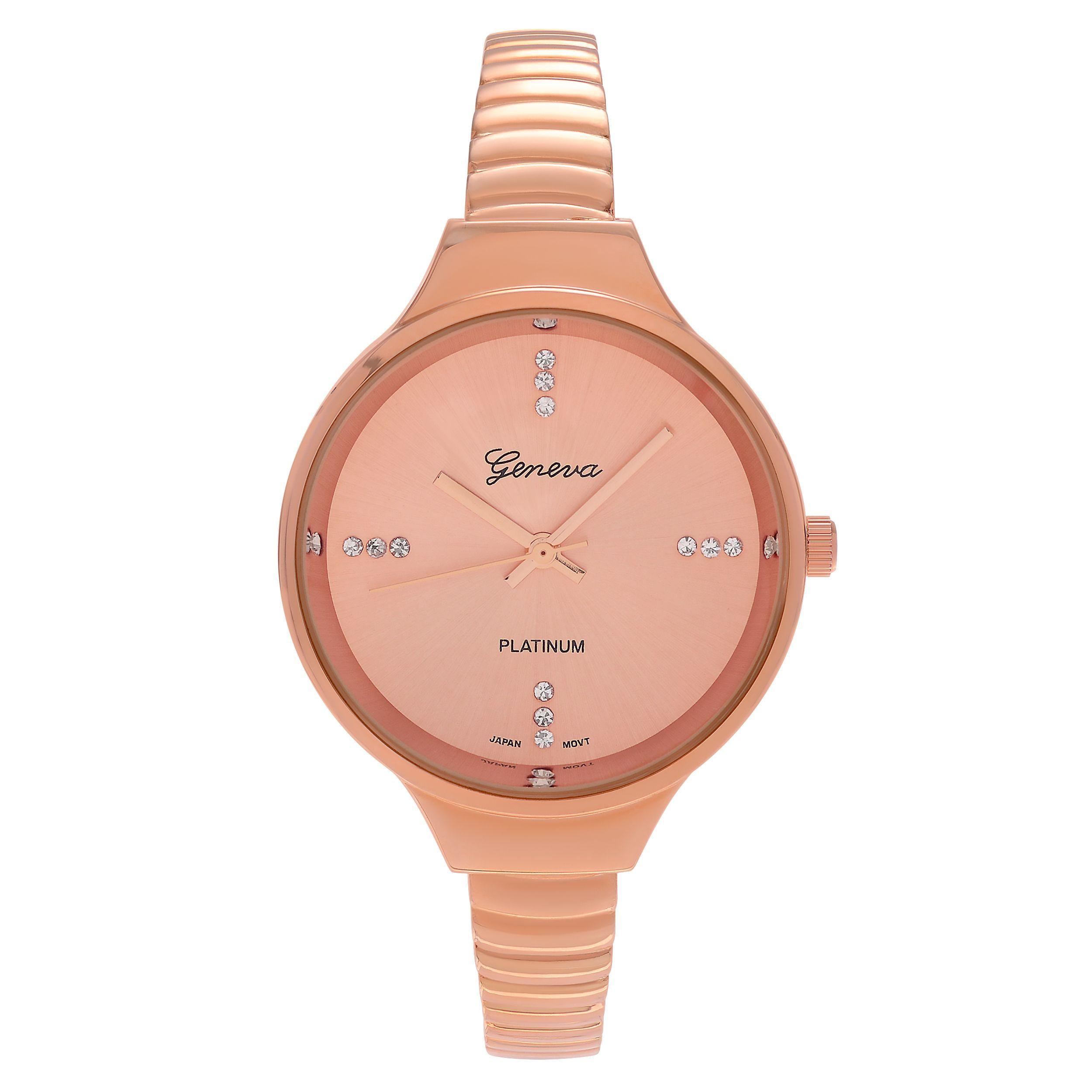 a2f8b173127 Geneva Platinum Women s Rhinestone Accent Bangle Cuff Watch (Rose Gold)