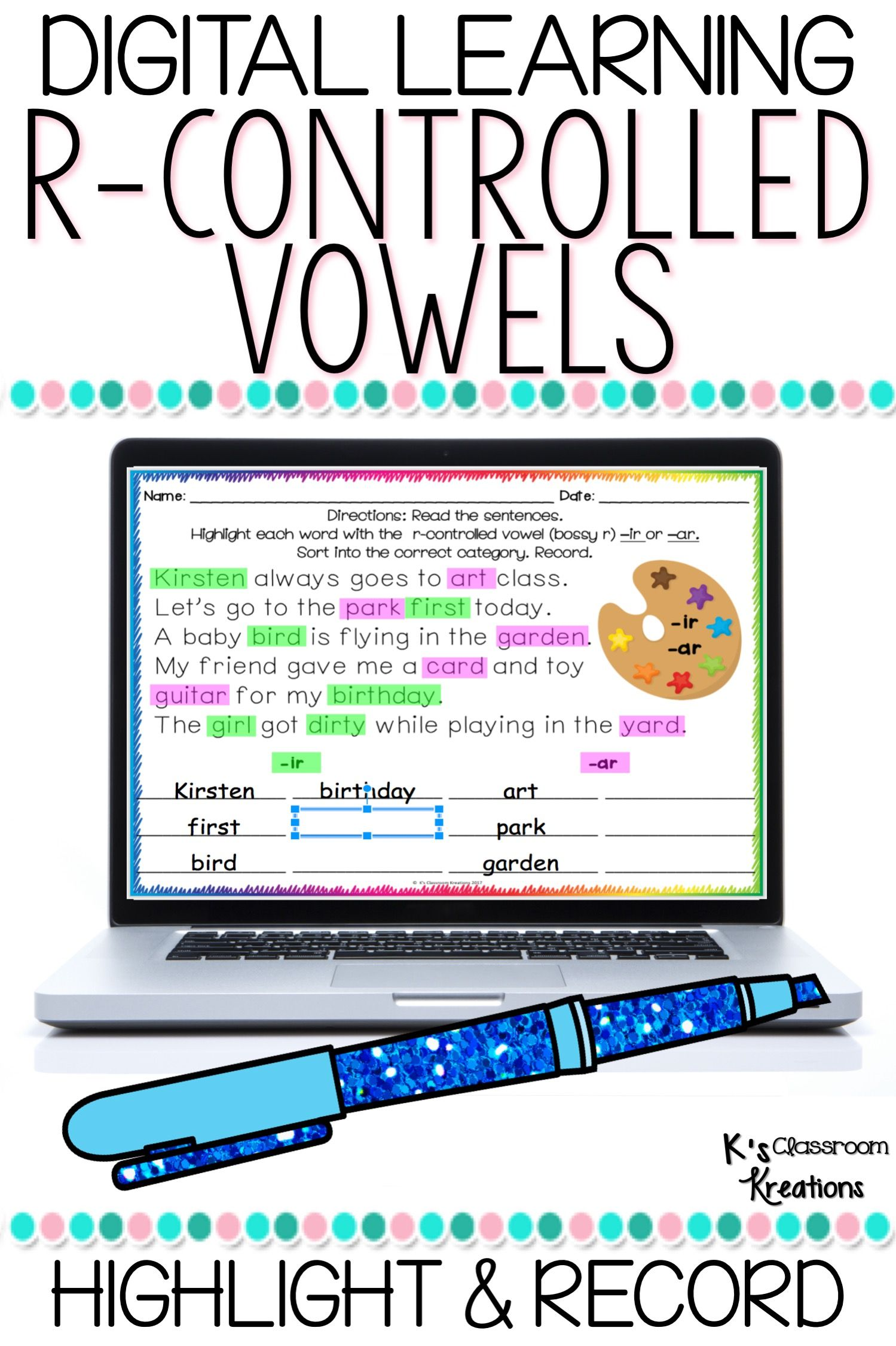 R Controlled Vowel Word Work For Slides