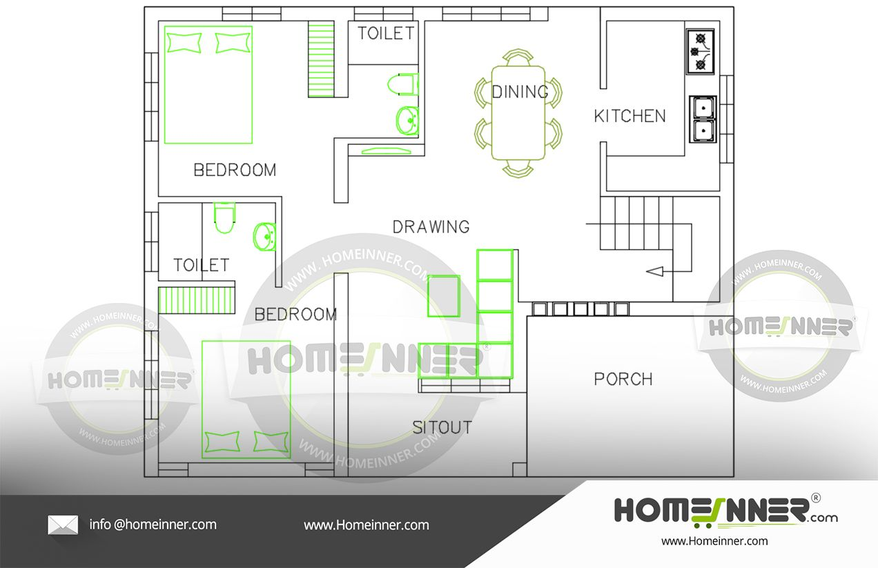 Free house plan 800 sq ft 2BHK in 2020 | Free house plans ...