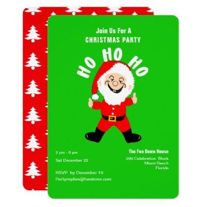 Christmas Party Jolly Ho Ho Ho Santa Claus Invite Invitation ideas