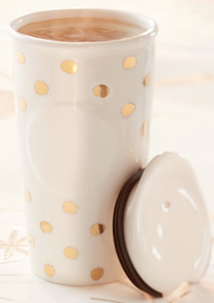 Gold Polka Dot Travel Mug
