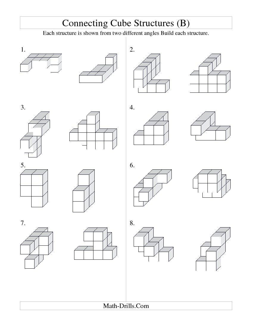 Construction Math Worksheets Building Connecting Cube Structures B Math  Worksheet   Free printable math worksheets [ 1100 x 850 Pixel ]
