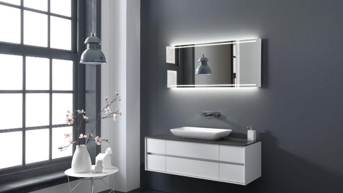 Thebalux stone serie met opzet waskom en meubel in hoogglans wit bij ennovy badkamers thebalux - Wit badkamer design meubels ...
