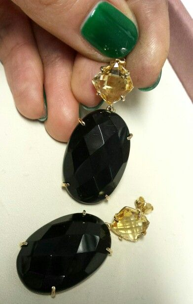 Earrings with Onyx and Citrin in yellow Gold 18 Kt. Handcrafted jewels by Danì Creazioni jewels