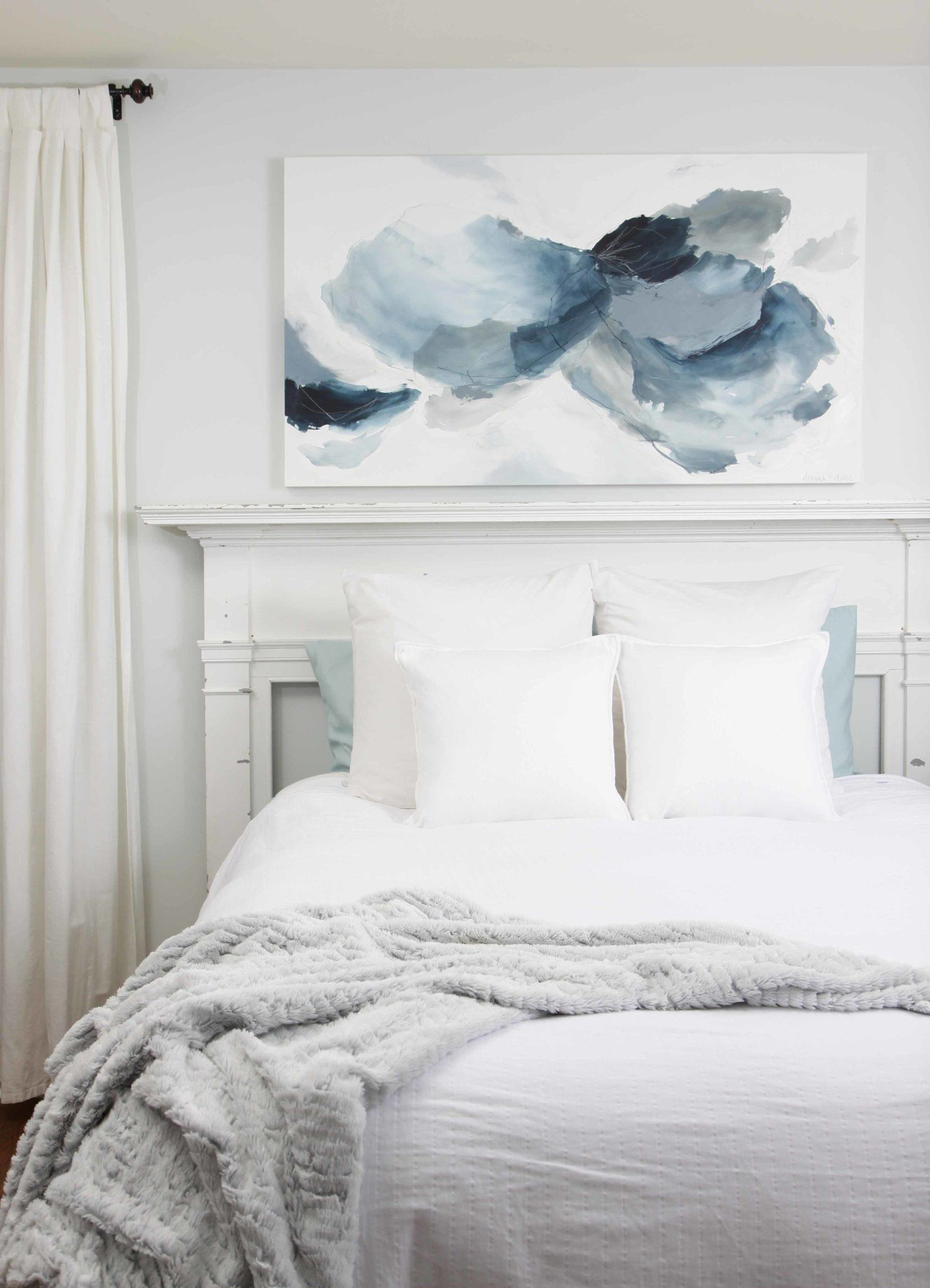 I Absolutely Love This 30 X 54 Abstract Painting In Soft And Soothing Blue And G Bedroom Wall Decor Above Bed Master Bedroom Wall Decor Bedroom Art Above Bed