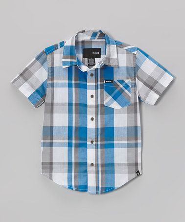 Take a look at this Code Blue Plaid Genius Button-Up - Boys by Hurley on #zulily today!