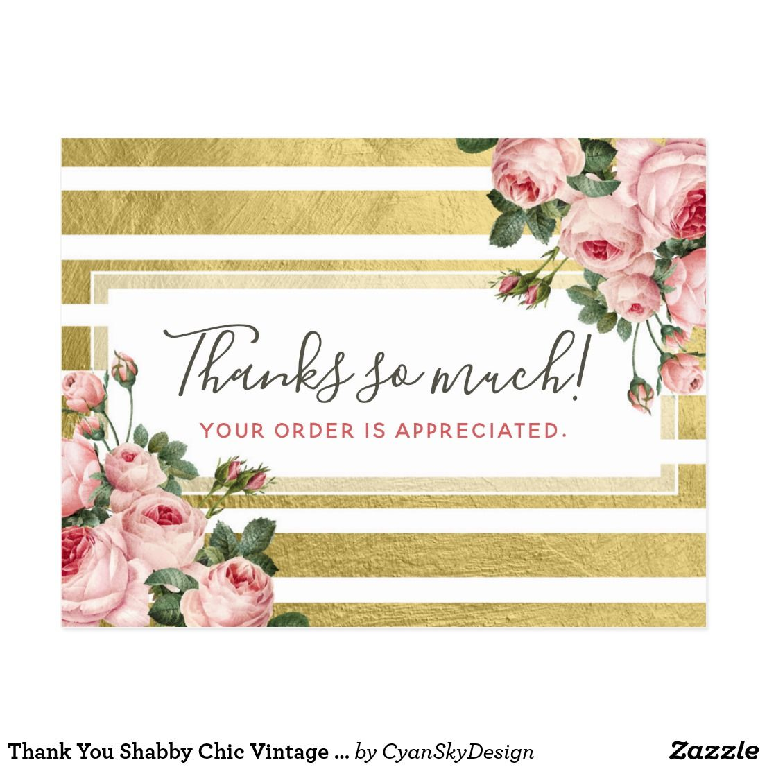 Thank You Shabby Chic Vintage Roses & Gold Card