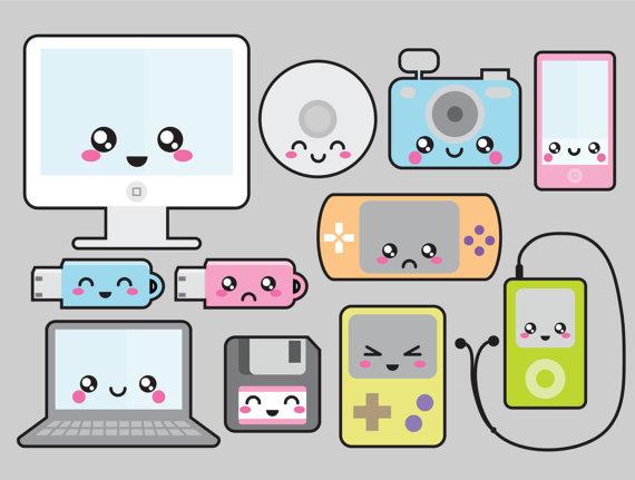 Premium Vector Clipart Kawaii Technology Clipart Etsy Kawaii Clipart Kawaii Drawings Kawaii Doodles