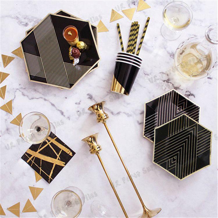 40 Sets Disposable Black Foil Gold Dinner Tableware Sets Paper