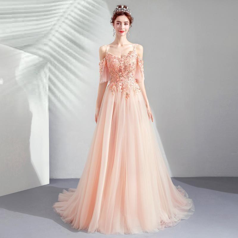 Pink Bride Wedding Dinner Ball Gown 5960