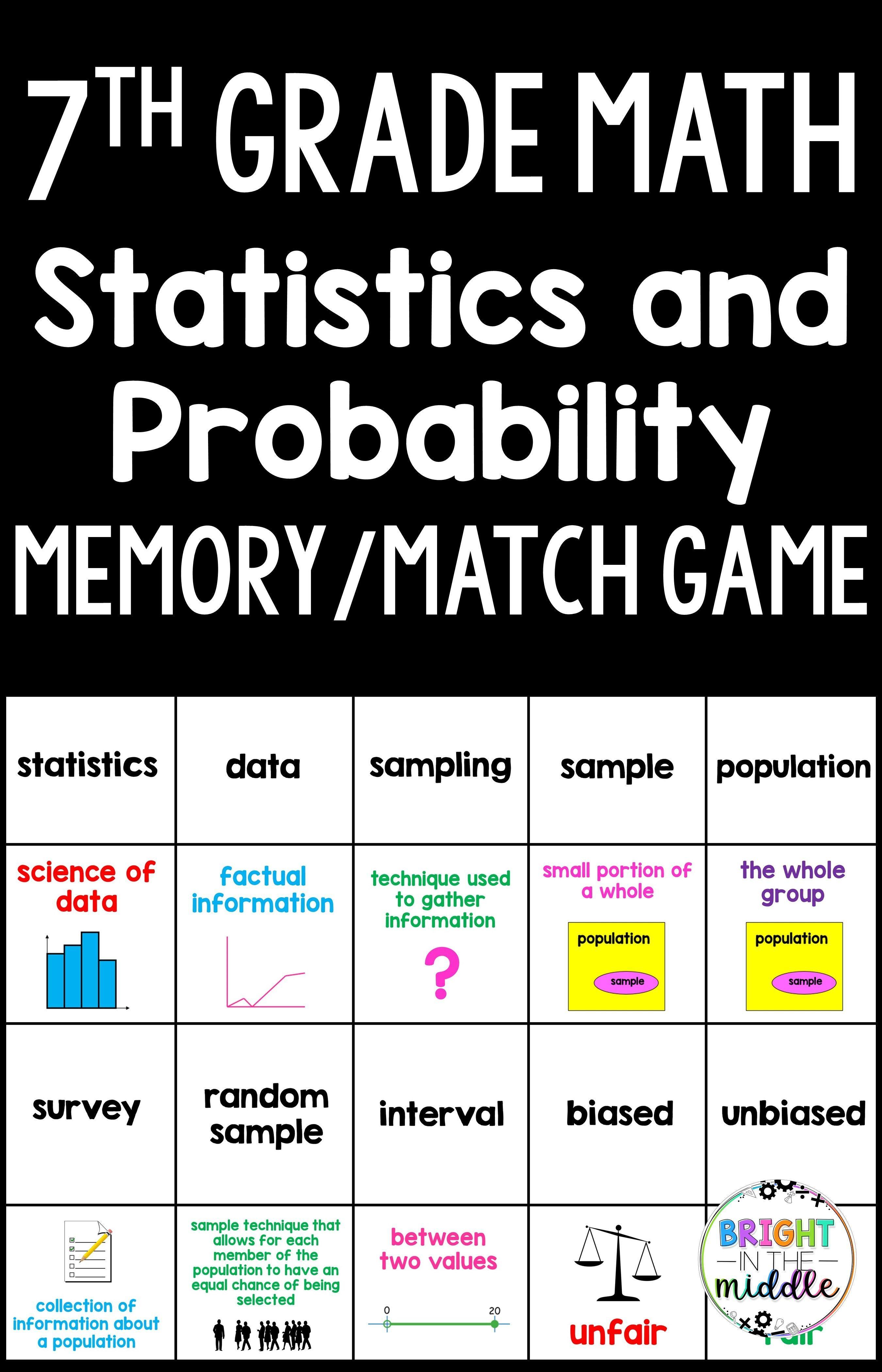 7th Grade Math Memory Game