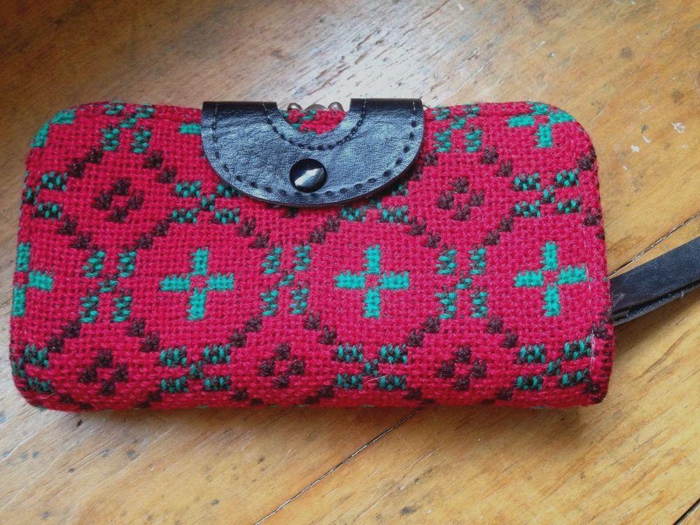 Vintage red Welsh Wool Tapestry wallet purse