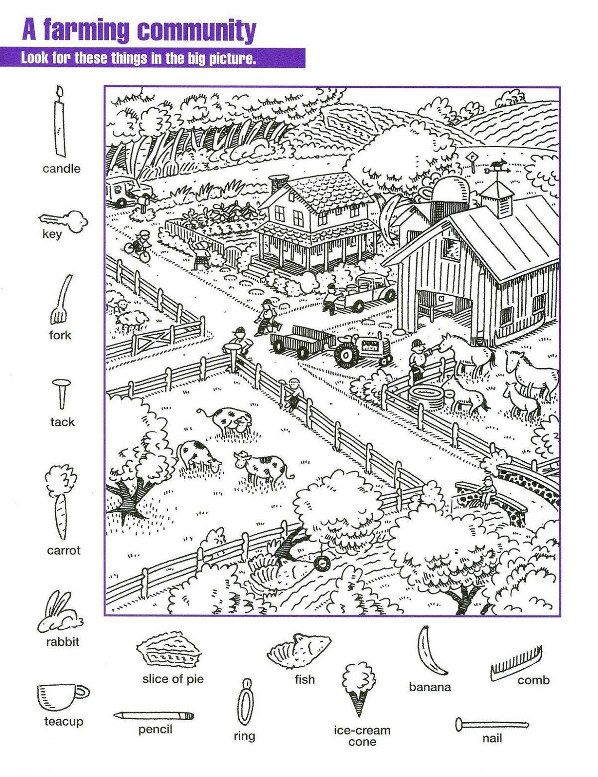 Hidden Pictures Worksheets For Kids In