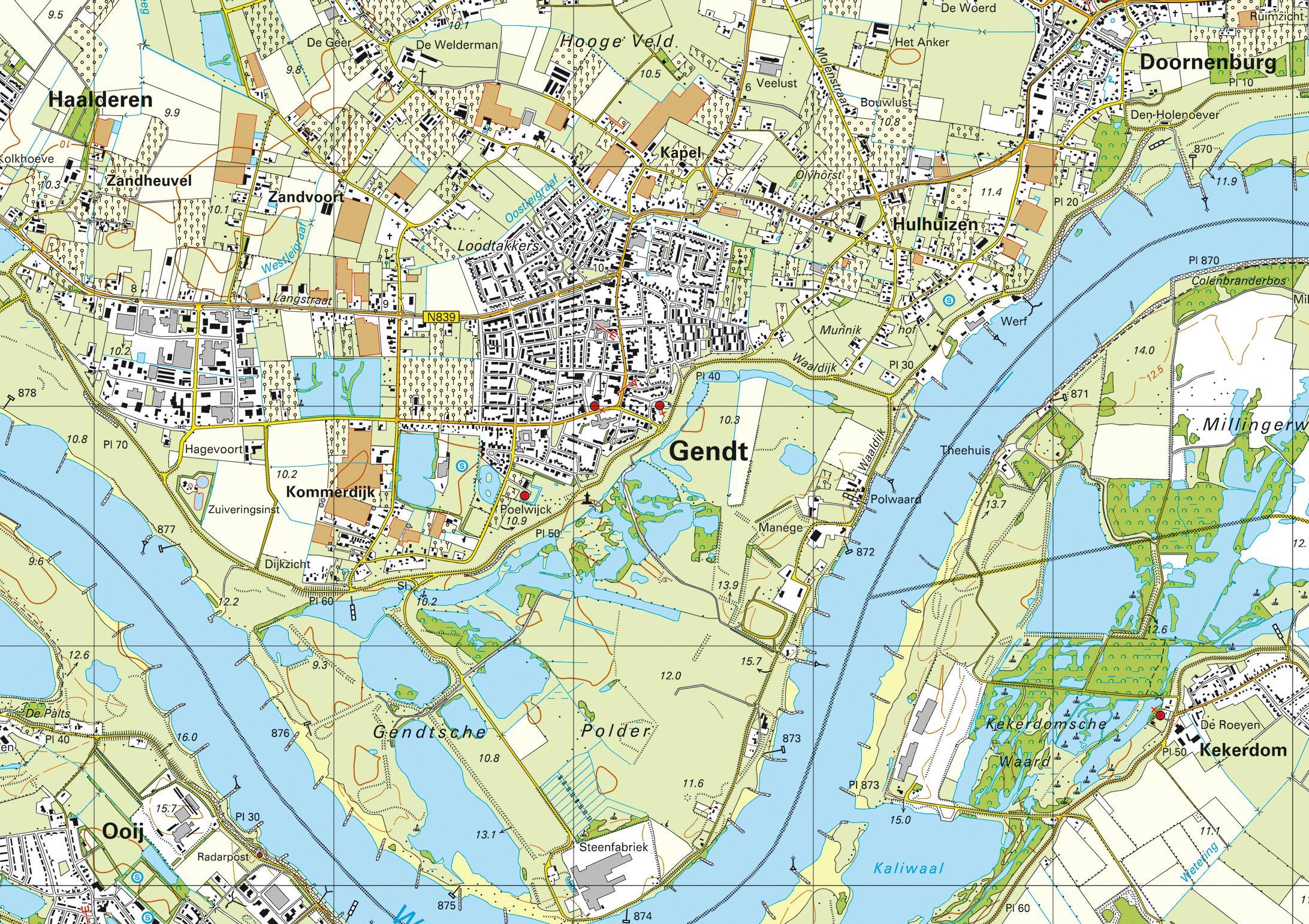 kaart van Gendt