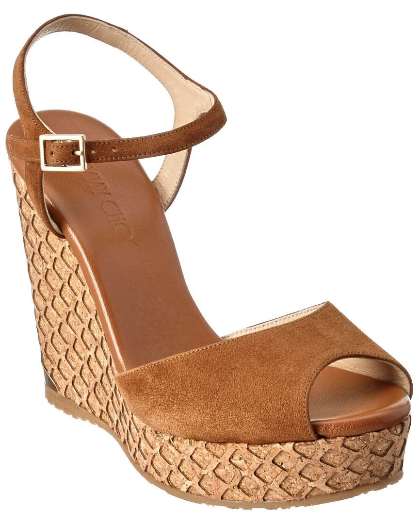 5ab562afc179 Jimmy Choo Perla 120 Suede Wedge Sandal is on Rue. Shop it now ...