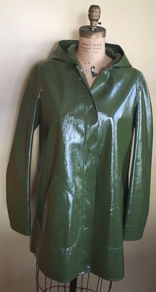 6709f533 ZARA Green Patent Finish Shiny Polyurethane Hooded Raincoat L Amazing  Condition | eBay Vest Jacket,