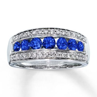 Natural Sapphire Ring Roundcut with Diamonds 14K White Gold