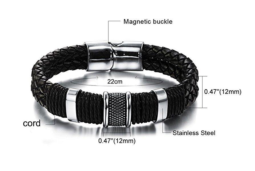 bracelet cuir homme 22 cm