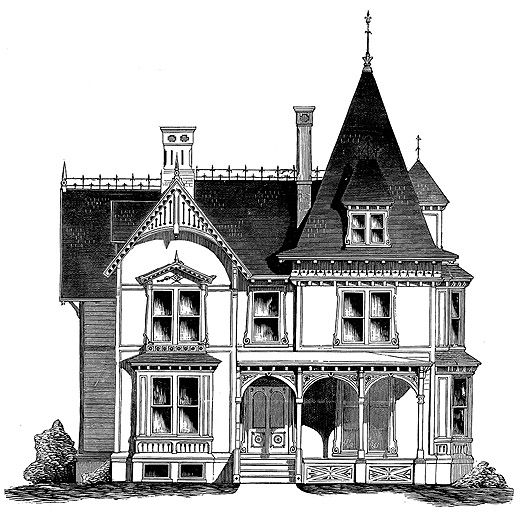 In appearance the exterior shares in the french gothic for Gothic revival house plans