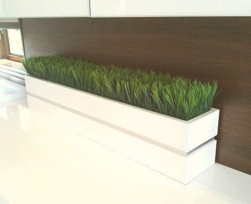 Modern White Lacquer Planter Box With Grass By Jtlcreations 295 00 Patio Garden Design Indoor Planters Indoor Planter Box