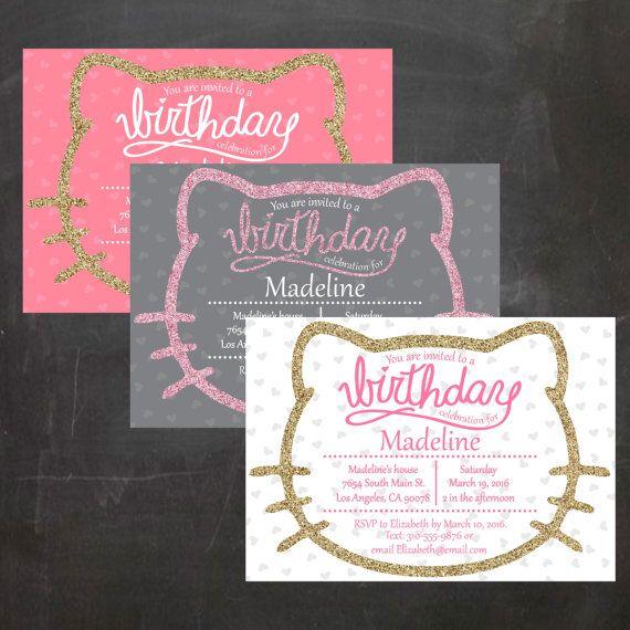 Hello Kitty Birthday Party Invitation Kids Party Invite Little – Custom Hello Kitty Birthday Invitations