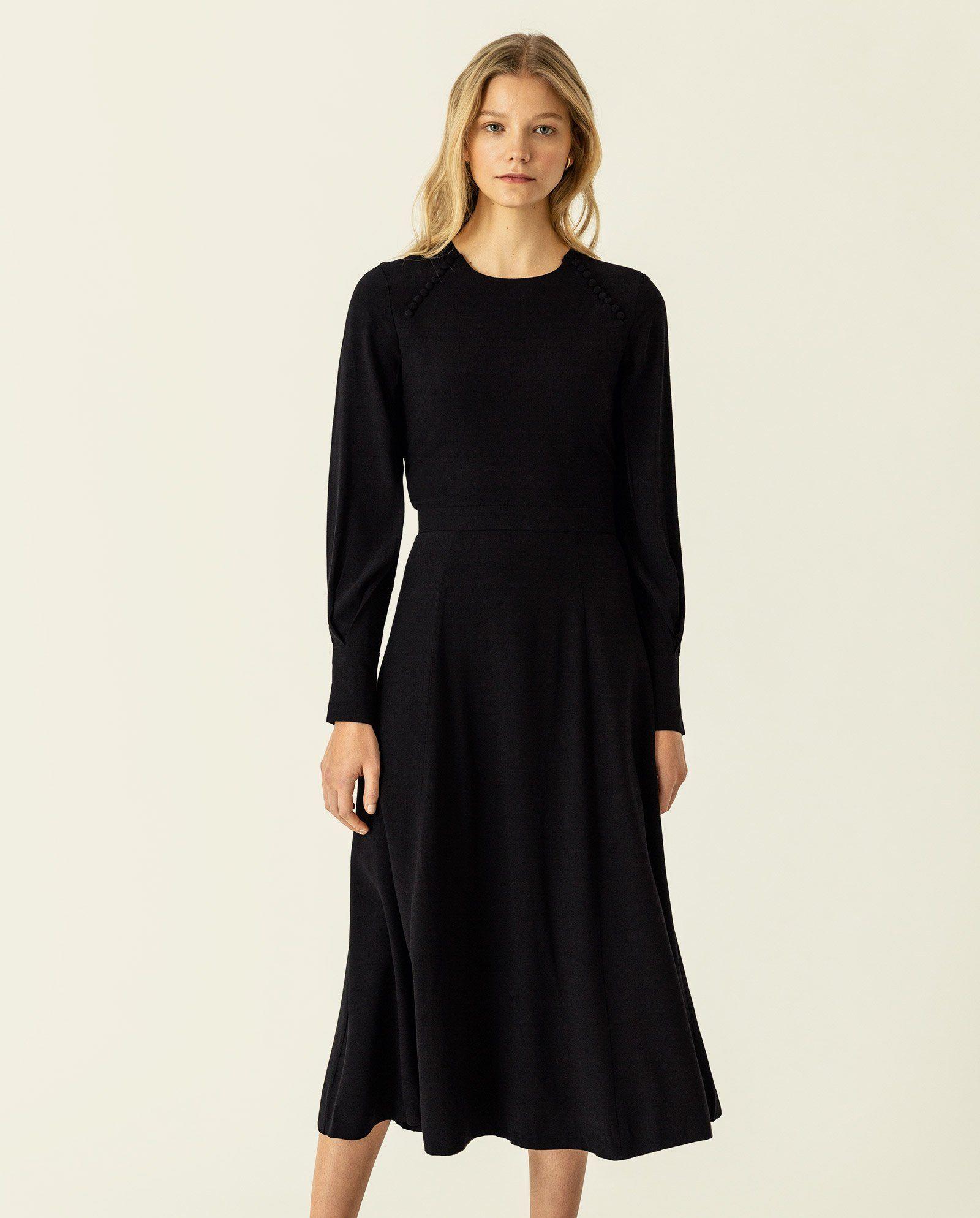 Midi Button Dress In 2021 Midi Maxi Dress Midi Length Dress Long Sleeve Dress [ 1988 x 1600 Pixel ]