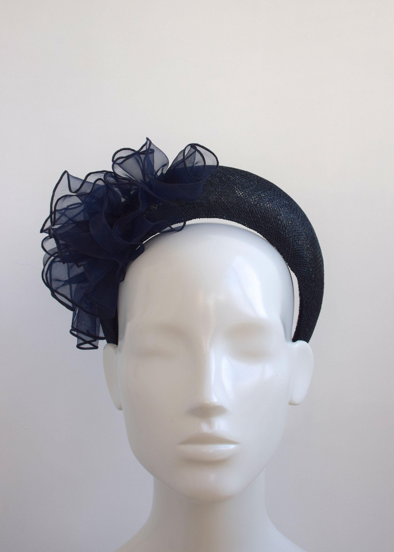 Navy Blue Halo Crown Navy Blue Wedding Hairband Fascinator - Navy Blue Velvet Halo Headband Navy Blue Wedding Guest Headband Headpiece