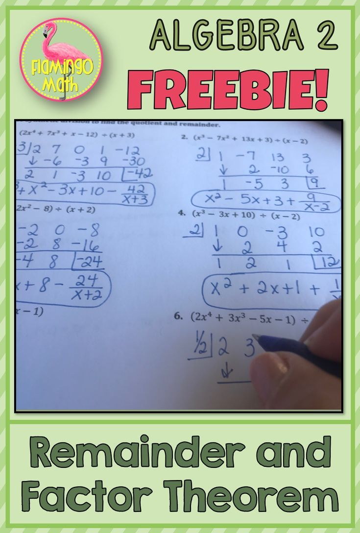 Remainder and Factor Theorems Freebie Algebra activities