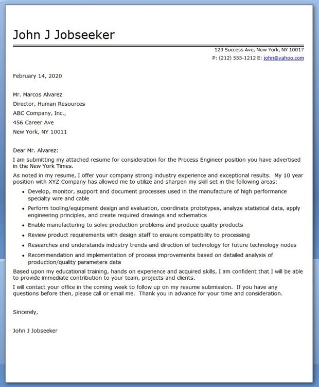 Process Engineering Cover Letter