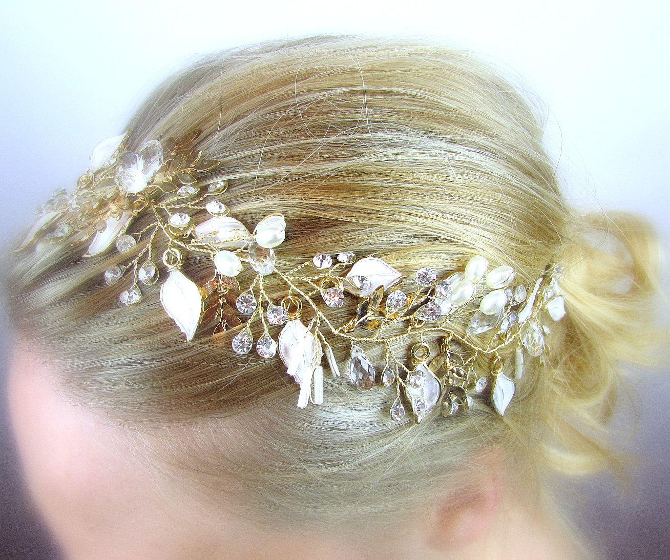 Gold hair vine bridal hair vine boho bridal hair vine rustic