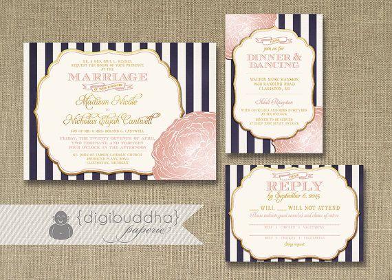 Blush Pink U0026 Gold Wedding Invitation RSVP Info Card 3 Piece Suite Navy  Stripes Bloom Shabby Chic Vintage Rustic DIY Or Printed   Madison