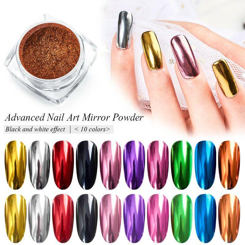 Nail Art Mirror Powder Rainbow Laser Glitter Dust Manicure Nail Chrome Pigment Nail Christmas Ideas Of Nail C Mirror Nails Mirror Nails Powder Powder Nails