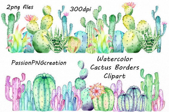 Watercolor Cactus Borders Clipart Png Photo Overlay Card Making