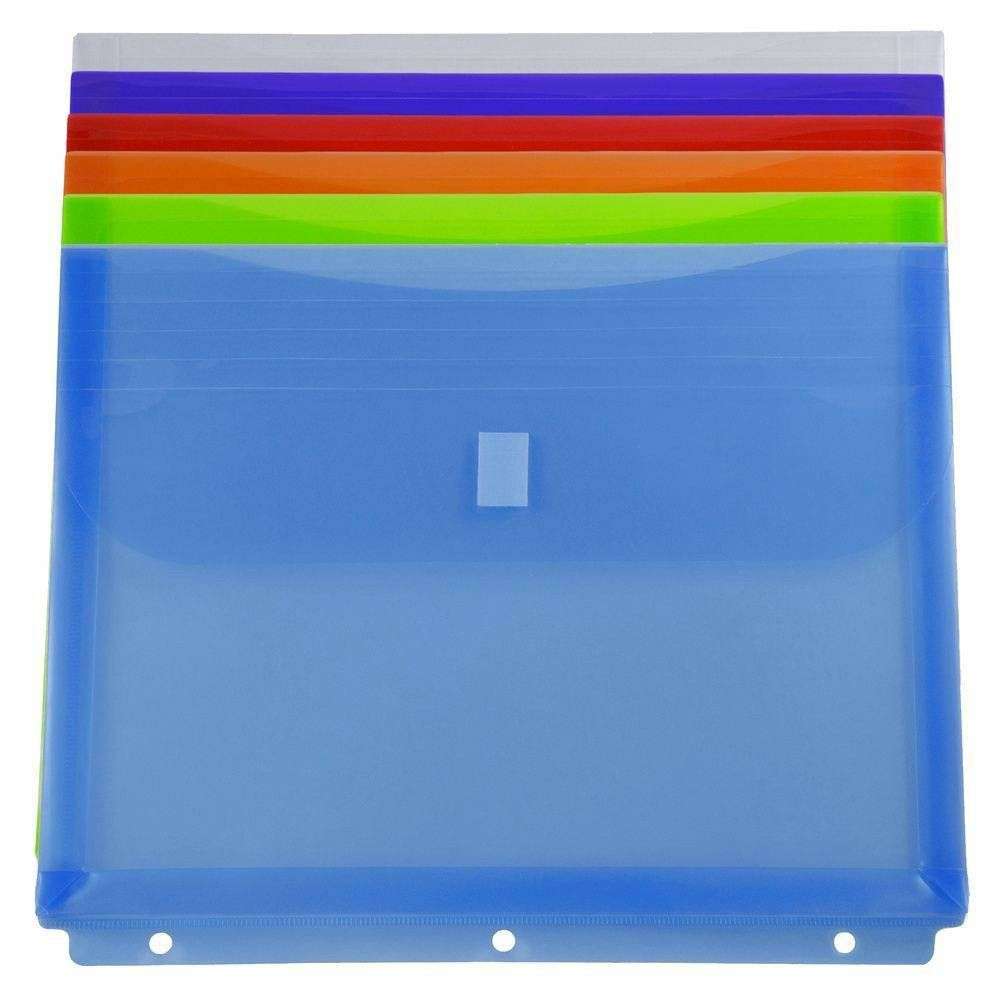 Jam Paper 9 1 2 X 1 1 4 X 11 1 2 6pk Plastic Binder Envelopes With Hook Loop Closure 3 Hole Punch Multicolor Multi Colored Plastic Binder Plastic Envelopes Hole Punch