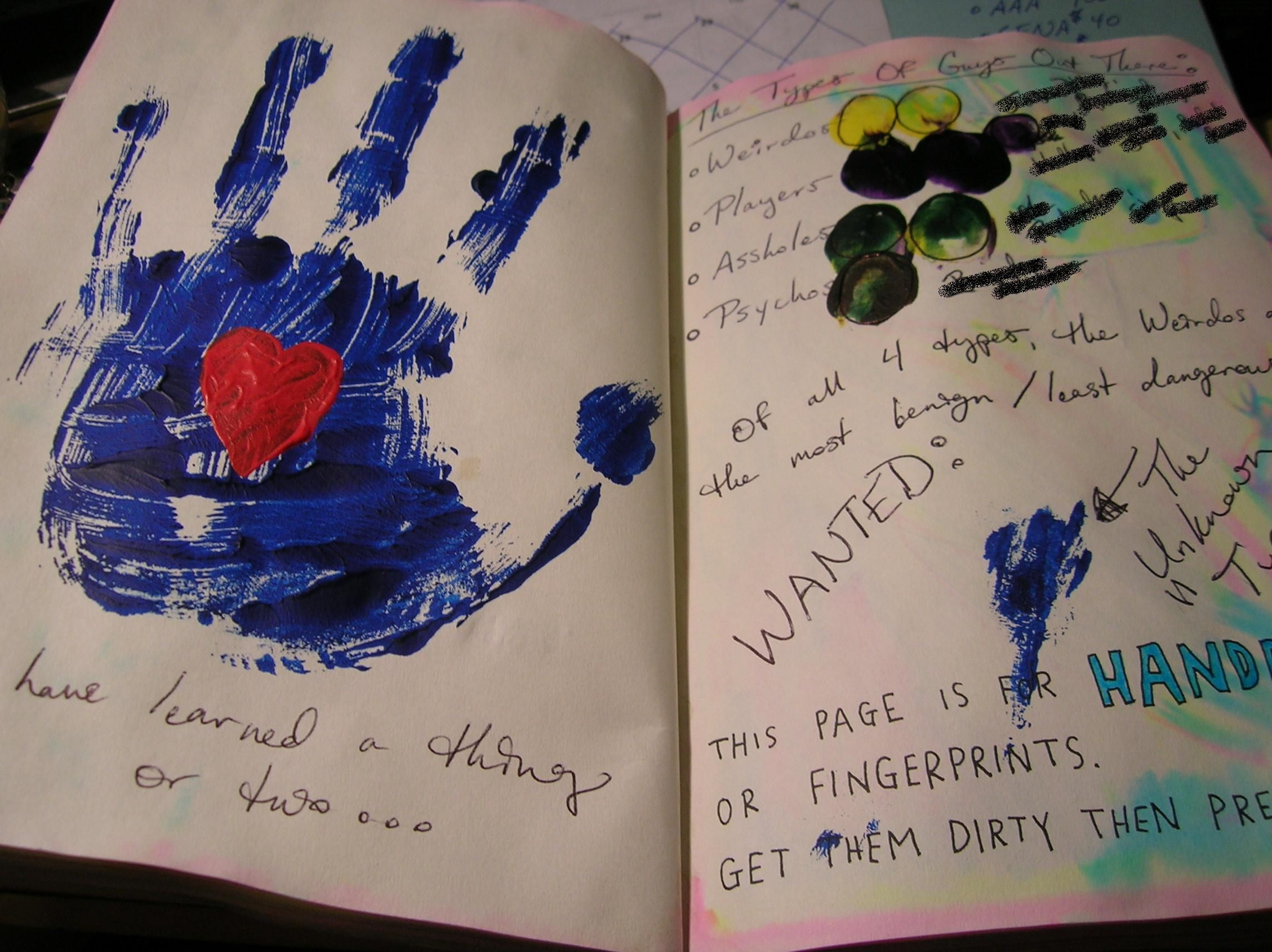 Wreck This Journal - Handprints, fingerprints, and the types of guys you tend to meet:  Weirdos, Players, Assholes, and Psychos. The names have been covered to protect the guilty, but YOU KNOW WHO YOU ARE! ~Leslie D. Soule