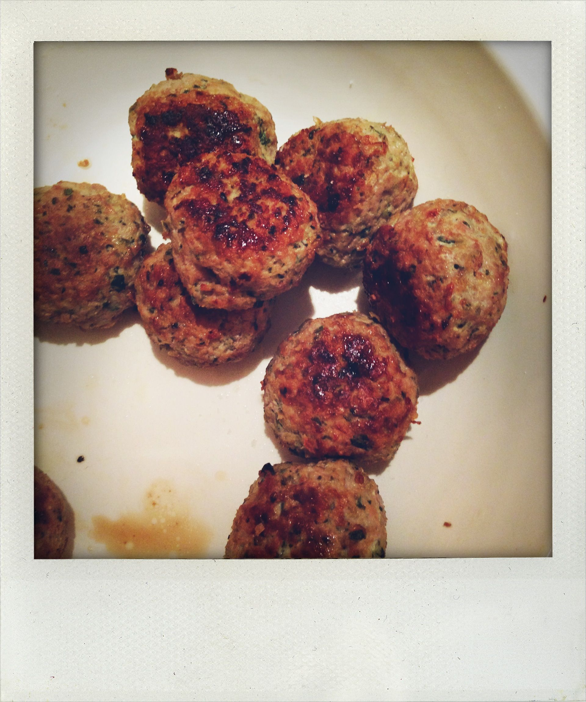 Day 13 dinner: Egg, cheese and breadcrumb free turkey meatballs (recipe coming soon in It's All Good).
