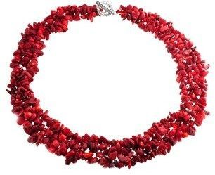 Bling Jewelry Multi Strands Dyed Red Coral Chips Chunky Silver Plated Necklace 18 Inches VmfleHPspk