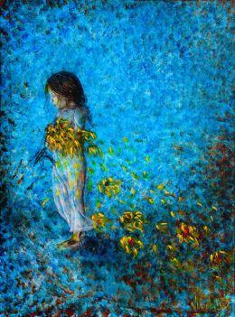 Menina com pintura do girassol | Pinturas | Pinturas final final