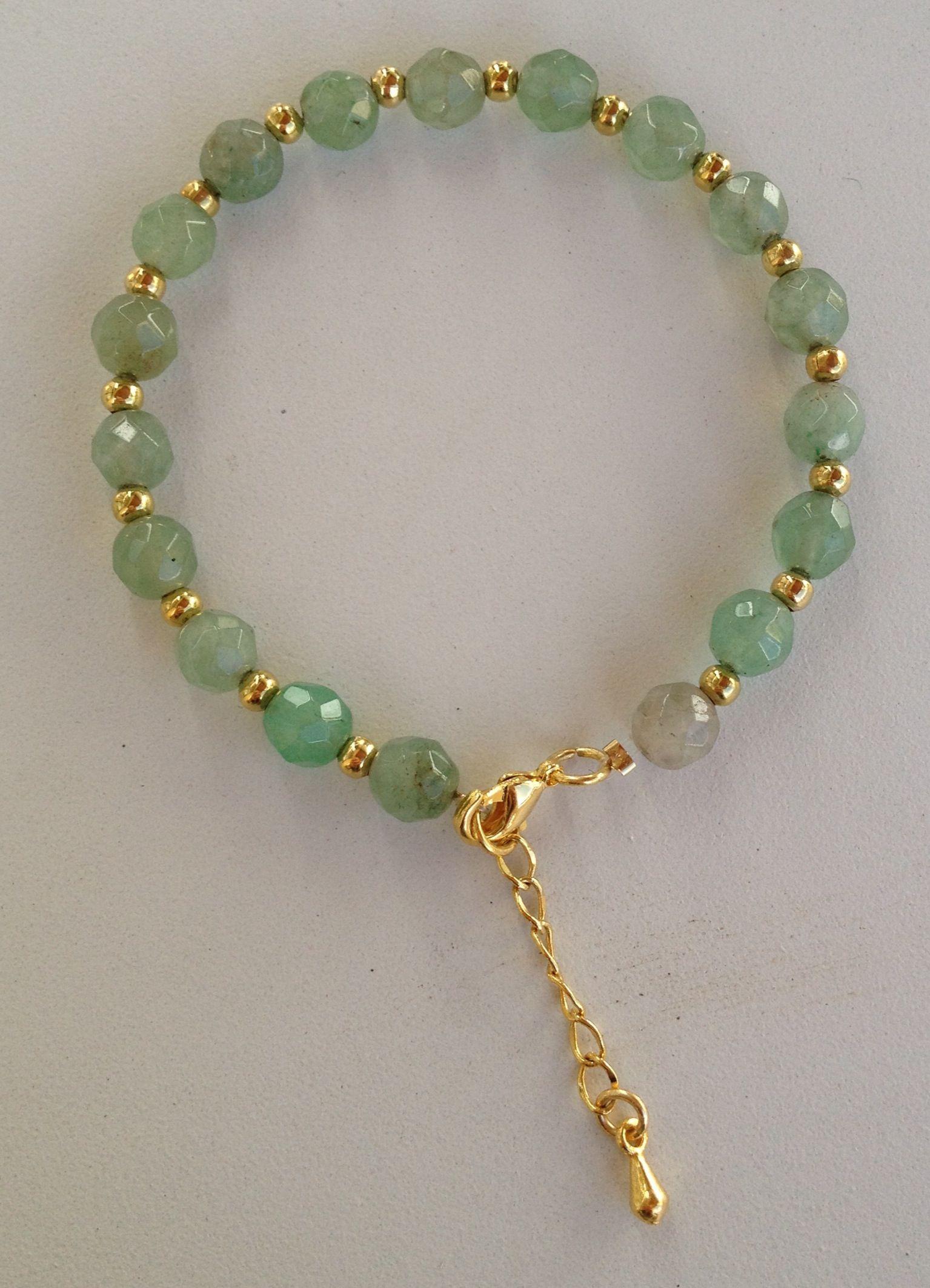 875a704bfd9d Green jade beaded bracelet pulseira de jade verde