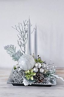 Photo of Result image for flower arrangement with Christmas glitter, gold and silver branch # …