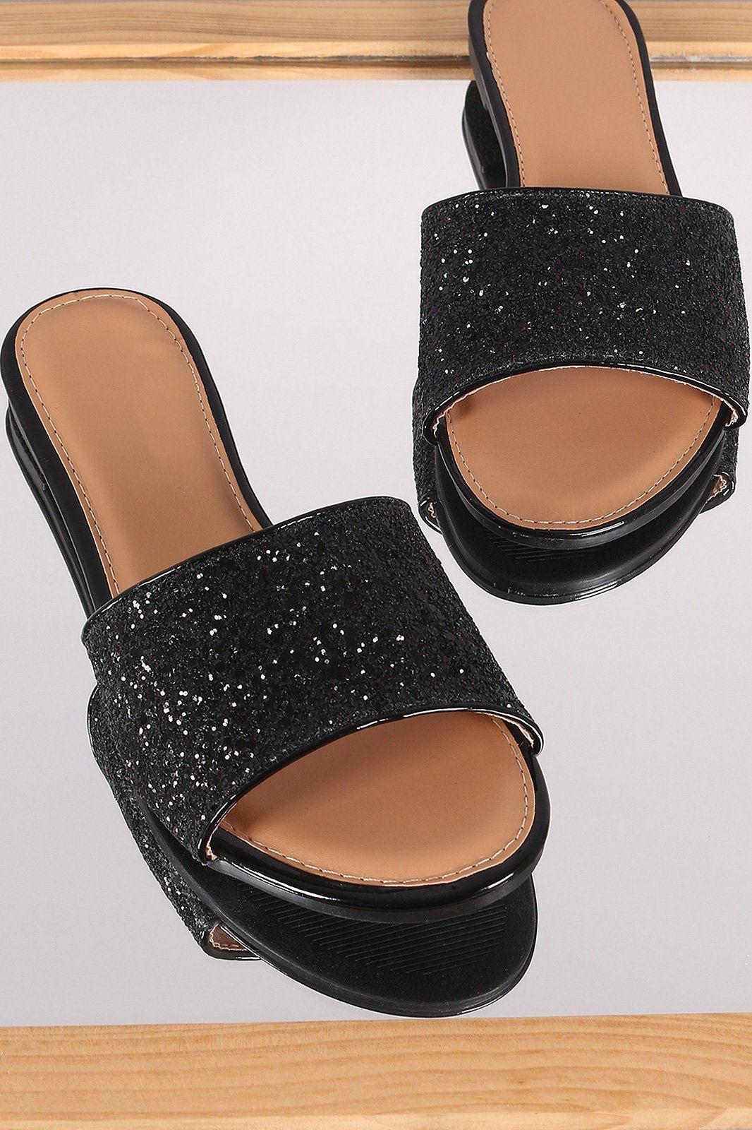 49278ca3f857 Glitter-Encrusted Open Toe Slide Sandal