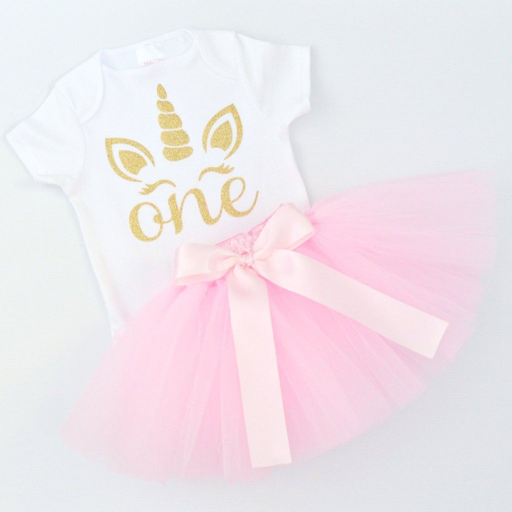 Pink Tutu & Gold Glitter Unicorn 1st Birthday Outfit   Short Sleeves  Made to Order - Pink tutu, 1st birthday outfits, Birthday outfit, 80s party outfits, Tutu, Tulle tutu - or ribbons and trims used