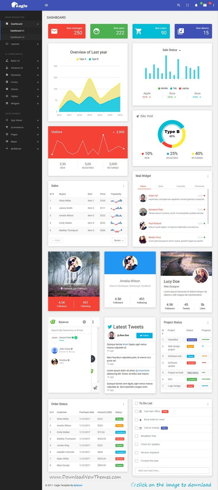 Eagle Material Bootstrap Admin Template Pinterest Dashboard - Testing dashboard template