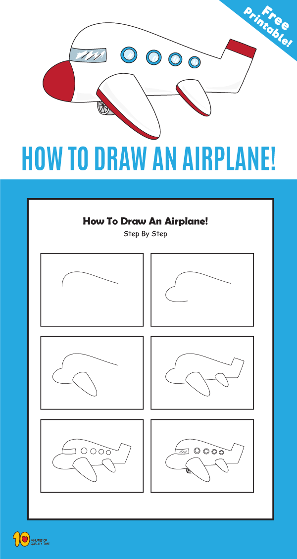 How To Draw An Airplane Drawing For Kids Children Sketch Art