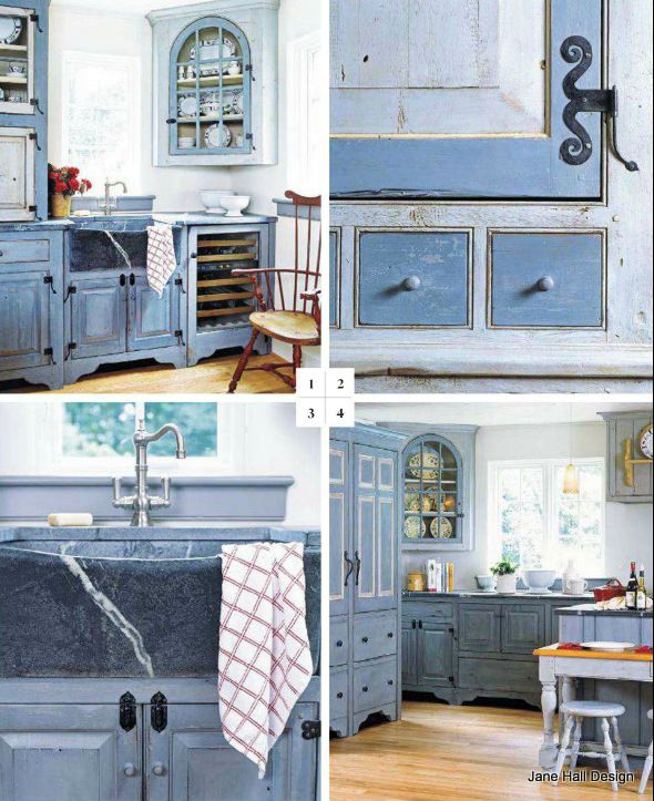 Country Style Kitchen With Painted Cabinets In A Delft Blue.