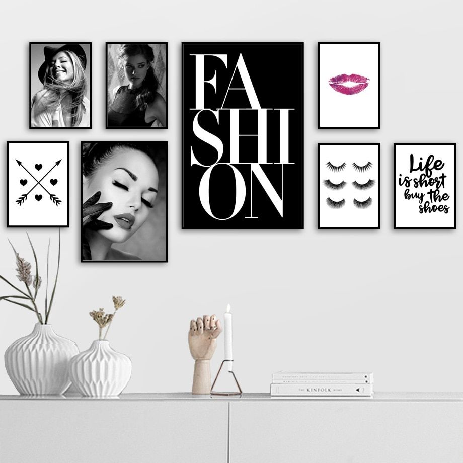 Modern Fashion Girl Eyelash Love Makeup Wall Art Canvas Painting Nordic Posters And Prints Wall Pictures For L In 2020 Girly Wall Art Art Gallery Wall Fashion Wall Art