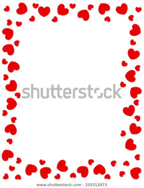 Red Hearts Border Valentines Day Heart Border Toddler Art Red Heart